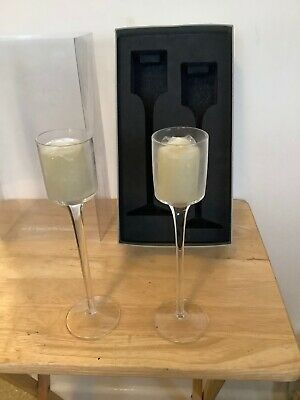 Pair Of Glass Candle Stick Holders Boxed • 7£