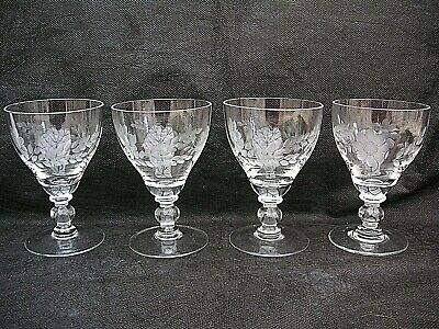 4 X Vintage Etched Small Crystal Wine Glasses • 12.99£