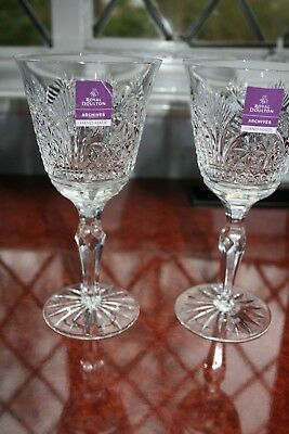 Pair Of Royal Doulton/webb Corbet Crystal Wine Glasses Cathedral Design Stunning • 40£
