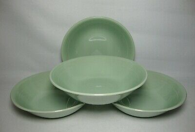 4 X WOODS WARE ~ BERYL GREEN 6 1/2  CEREAL BOWLS IN VERY GOOD CONDITION • 19.50£