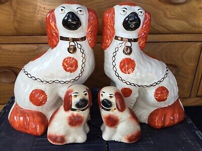 Pair Of Late 20thC. Staffordshire Flat Back Chimney Spaniels Or Wally Dogs 11.5  • 14.99£