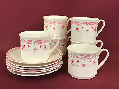 ROYAL DOULTON CALICO RED 6 TEACUPS & SAUCERS - BRAND NEW/UNUSED Made In England • 4.99£