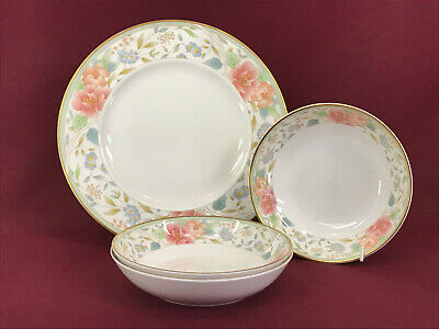 ROYAL DOULTON CLAUDIA 3 X SOUP BOWLS + 1 X DINNER PLATE - NEW/UNUSED Made In Eng • 4.99£