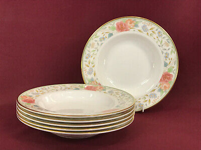 ROYAL DOULTON CLAUDIA 6 X RIM SOUP BOWLS 23cm - NEW/UNUSED (made In England) • 6.99£