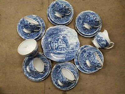 Vintage H M Sutherland Rural Scenes Blue And White China Tea Set Cups Saucers • 34.95£
