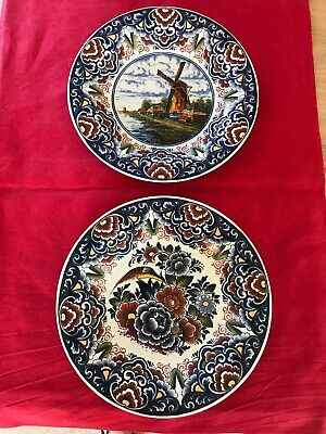 Two Vintage Delft Polychrome Hand Painted Plates Floral Bird Windmill Design • 2.60£