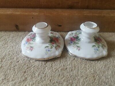 2 X Vintage Royal Albert Moss Rose China Candlestick Holders • 9.95£
