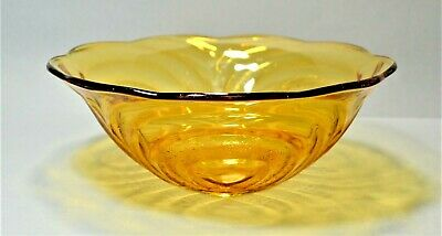 Pressed Glass Art Deco Amber Glass Bowl Ribbed And Patterned Detail Vintage  • 9.99£