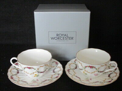 Royal Worcester 'foxglove' 2 X Tea Cups And Saucers 1st (boxed) • 21.50£