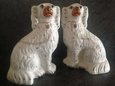 Pair Of C19th Staffordshire Comforter Dogs With Padlock On Their Neck. • 21.80£