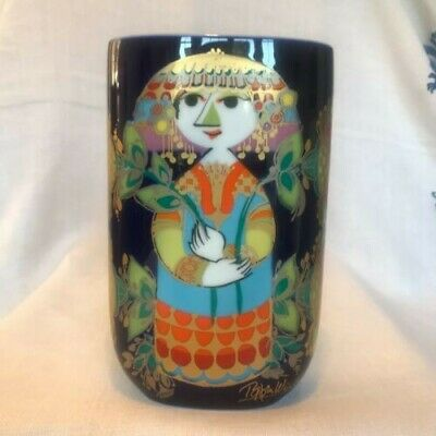 Rosenthal Bjorn Wiinblad Tall Vase Vintage Collectable Colourful 1980s VGC • 25£