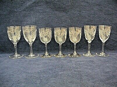 Set Of 7 Quality Fern Etched Crystal  Stemmed Sherry Glasses  • 12.99£