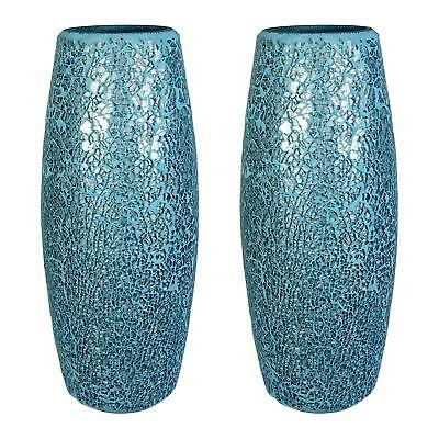 Lucenté Crackle Glass Mosaic Vase - Blue & Silver Finish - 30cm (H) X 12cm (Dia) • 12£