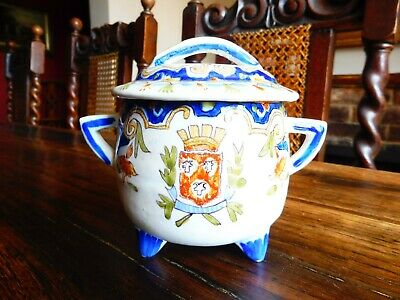 Pretty ANTIQUE French Pottery FAIENCE Chocolate/Custard Pot Signed • 28£