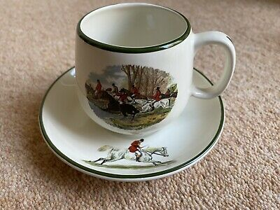 Prinknash Pottery Herring Hunting Cup & Saucer. Collectable Rare Hounds Horses • 9.99£