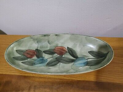 Jersey Pottery Hand Painted Oblong Dish-pretty Tulip Design • 7£