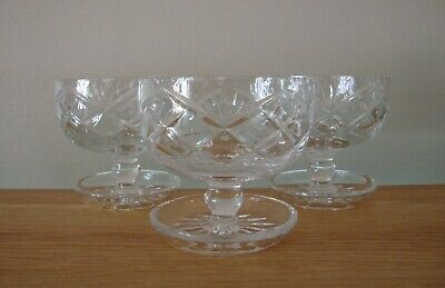 3 X ROYAL BRIERLEY CRYSTAL BRAEMAR FOOTED DESSERT DISHES IN EXCELLENT CONDITION • 29.50£