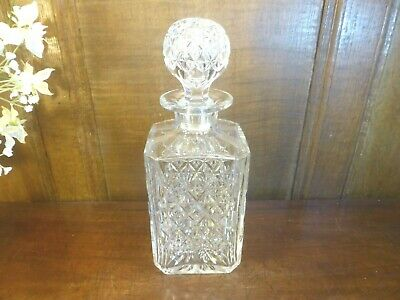 VGC WEBB Crystal/Cut Glass  WELLINGTON  Square Whisky DECANTER - 9.75   • 66.95£