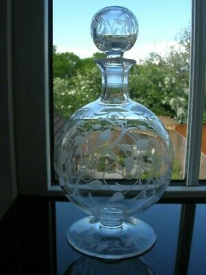 Art Nouveau - Engraved Small Decanter - Original Matching Stopper - C1900 • 48£