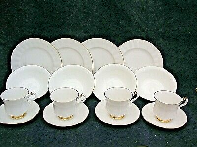 Vintage 16 Piece Duchess White And Gold Bone China Teacup Saucer & Side Plate  • 18.99£