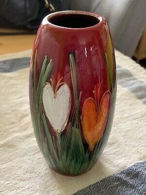 ANITA HARRIS [ GOLD SIGNED ] ART POTTERY CROCUS 7  SKITTLE VASE Great Condition • 38.50£
