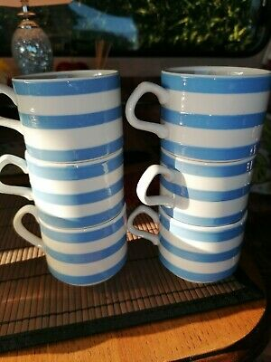 Carrigaline Ireland Blue And White Striped Pottery Cup X6 • 35£