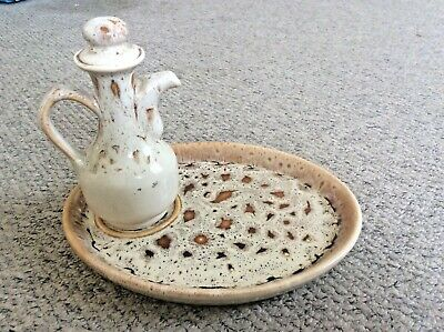 Pressingoll Pottery Honey Collection Olive Oil Jug & Tray Dish Serving Plate(M7) • 14.99£
