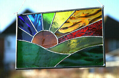 Handmade Stained Glass Suncatcher Rainbow Sunrise Sunset Sunburst Gift • 24.95£