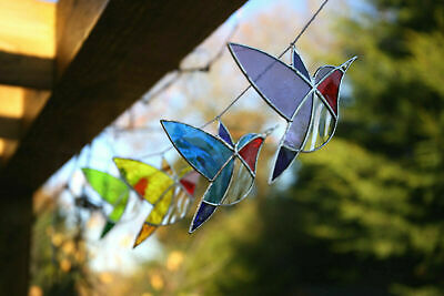 Handmade Stained Glass Suncatcher Hummingbird Bird Hanging Gift Window / Garden • 10£