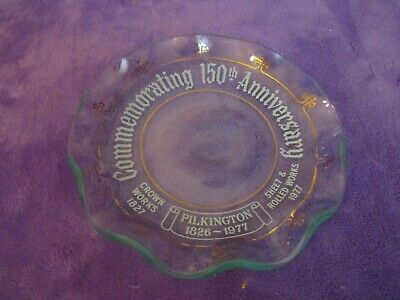 Vintage Pilkington 1826-1977 Clear Glass Dish Commemorating 150th Anniversary • 8£
