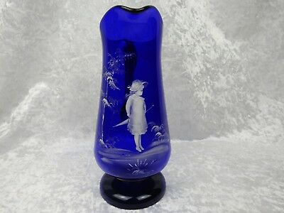 Mary Gregory Blue Glass Jug - Height 27cm • 45£