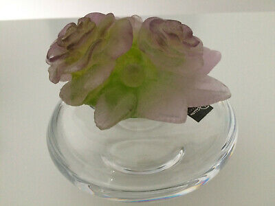 DAUM (France)  Roses Box - Pate De Verre Top; Clear Glass Base. Boxed And Signed • 299£