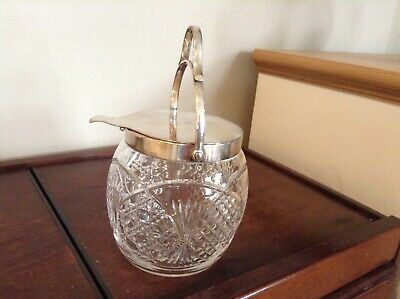 Vintage Cut Glass And EPNS Silver Plated Biscuit Barrel With Lid And Handle • 18£