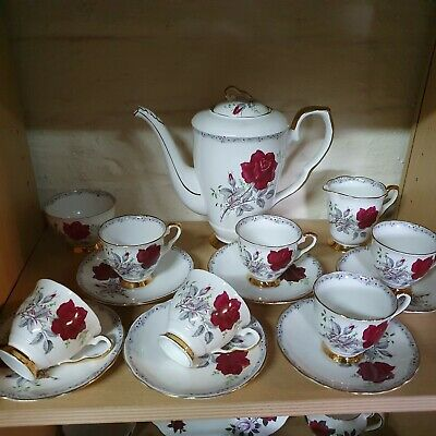 Lovely Royal Stafford Bone China Roses To Remember 15 Piece Coffee Set • 75£