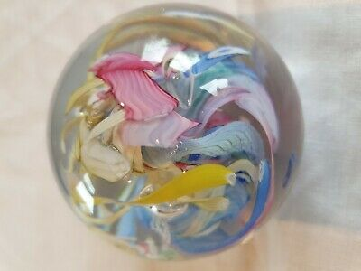 Multi Coloured  Large Glass Paperweight - Handmade • 7.49£