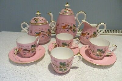 Pretty 19th Century Hand Painted Part Coffee Set Pink With Birds • 25£