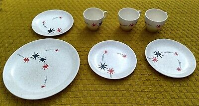 Vintage Atomic Starburst Night Sky Safari Myott's Part Tea Set Cups & Plates • 15£