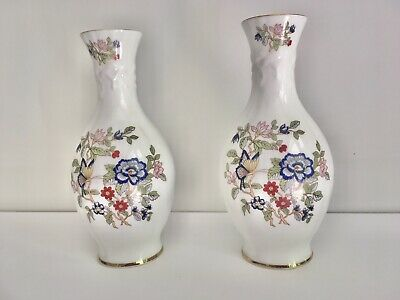 Stunning Pair Bone China Royal Tara Galway Ireland Vases Floral & Gold Harmony • 49.99£