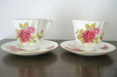 2 Vintage Duchess Bone China Tea Cups And Saucers Roses Floral Tableware • 3.99£