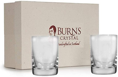 Burns Handcrafted Crystal Dram Shot Glass Pair, Set Of 2 - Round Design, 2oz | • 38.87£