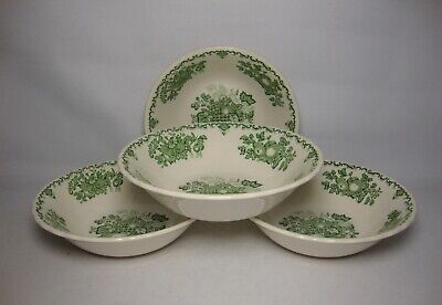 4 X MASONS FRUIT BASKET ~ GREEN 6 1/4  CEREAL BOWLS IN VERY GOOD CONDITION • 36.50£