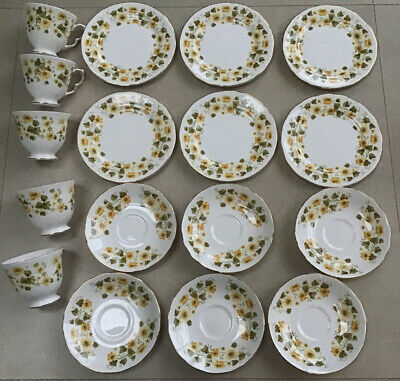 Queen Anne Ashley China Tea Set Yellow Flowers 17 Piece • 24£