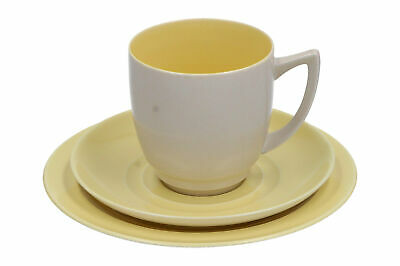 A Branksome China Trio Cup Saucer & Plate Grey & Yellow • 14.95£
