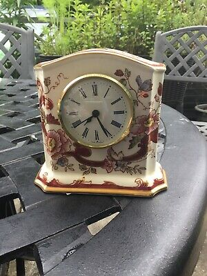 Vintage Carriage Clock Mason's Mandalay Red Ironstone Table Fireplace • 10£