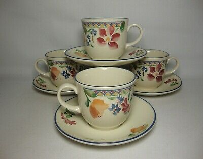 4 X STAFFORDSHIRE CALYPSO TEA CUPS & SAUCERS IN VERY GOOD CONDITION • 19.50£