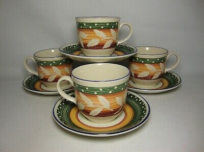 4 X STAFFORDSHIRE ZANZIBAR TEA CUPS & SAUCERS IN VERY GOOD CONDITION • 19.50£