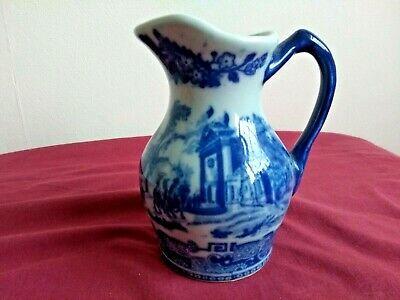 Victoria Ironstone Small Heavy Jug Blue White Willow Decorated Great Condition  • 11.99£
