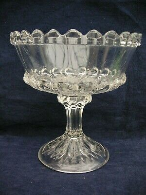Vintage Edward Moore Clear  Pressed Glass Pedistal Compote  • 13.99£