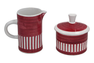 A Rye Cinque Ports Pottery Stripey Milk Jug & Sugar Bowl Vintage Sussex • 14.95£