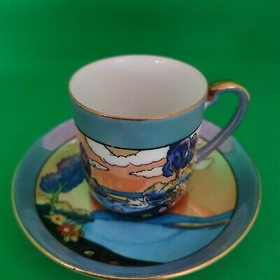 Art Deco Noritake Hand Painted And Gilded Coffee Can And Saucer • 24.99£